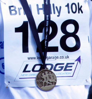 Race number and medal